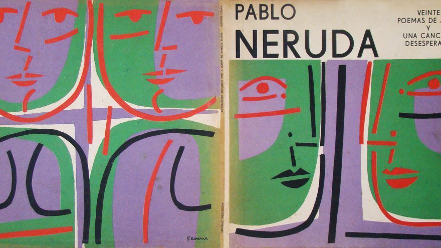 Portada de libro con dibujos de caras en color negro, morado y verde. Se titula 20 poemas de amor y escrito por Pablo Neruda