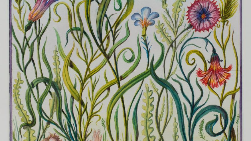 El personaje de Gulliver encogido y rodeado de flores y otra flora