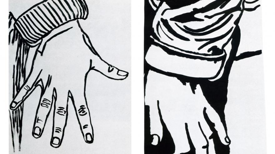 Dibujo en blanco y negro de dos manos