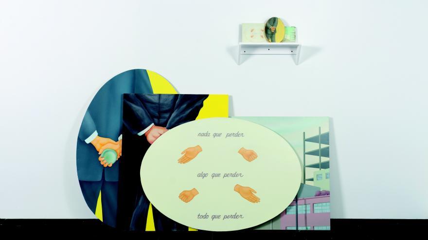 Collage de obras que combinas figuras antropomorfas y letras