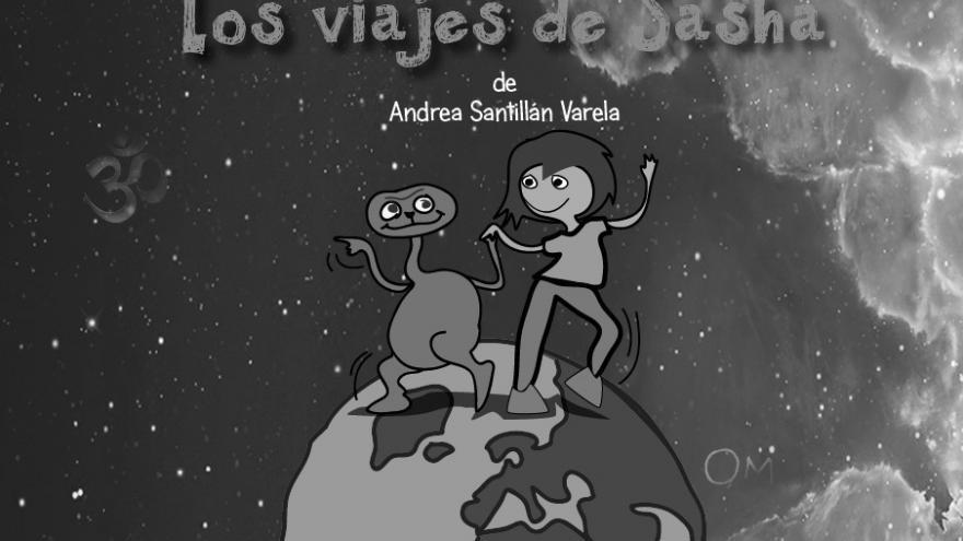 imagen en la que se ve los dibujos de una niña de pie en un planeta junto con un extraterrestre