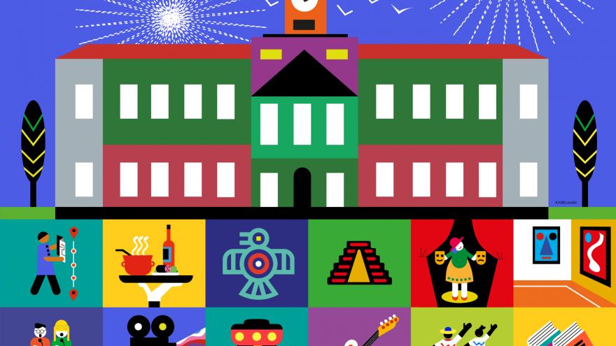 Edificio de colores y recuadros de colores