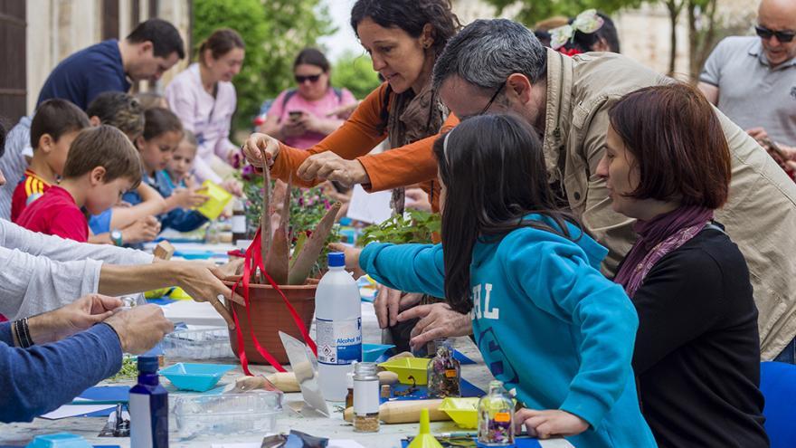 Niños y adultos participando en talleres con plantas