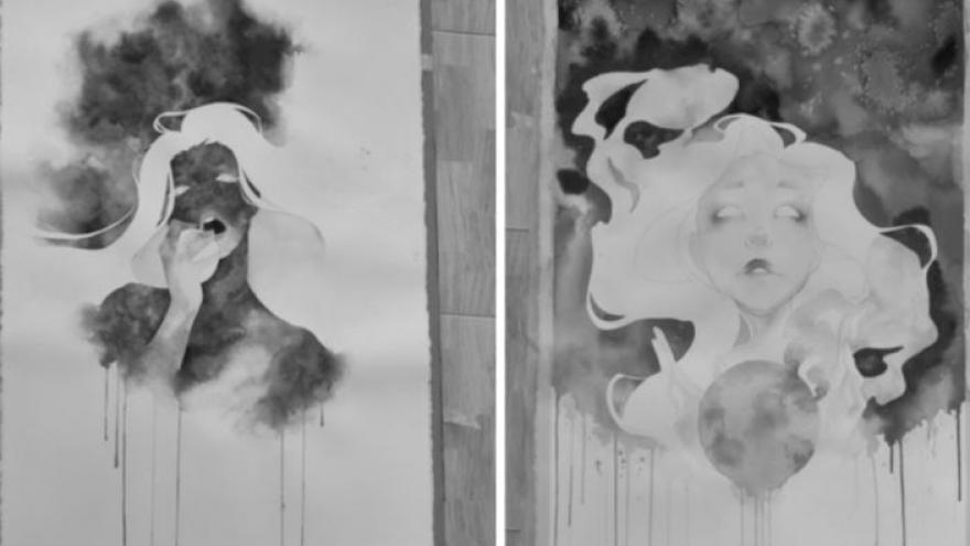 imagen de dos cuadros de Aurora de la exposición Vereda en la que se ven dos rostros femeninos