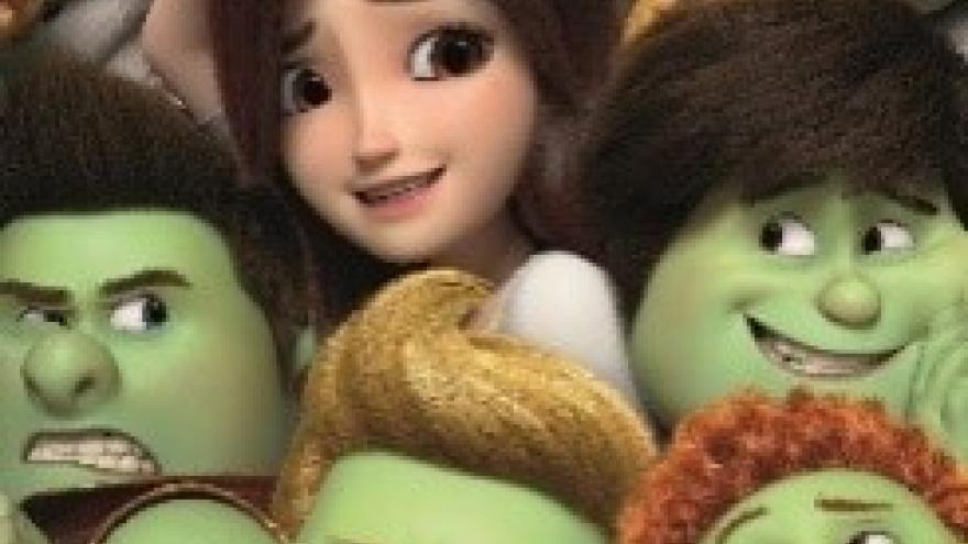 imagen en la que se ve a la chica protagonista y a los siete trolls