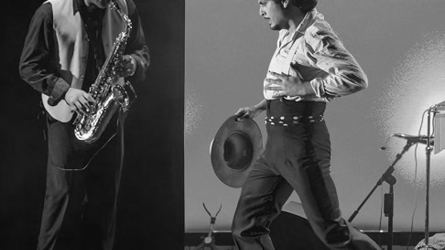 imagen del espectáculo Zarzuela Rosa donde se ve al bailaor y a un músico