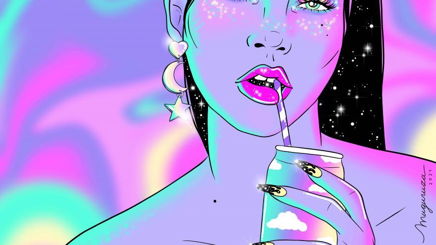 Chica bebiendo de una lata sobre fondo de colores
