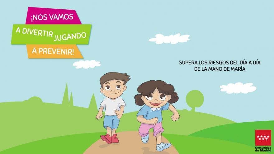 Dibujo de un niño y una niña caminando
