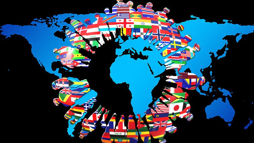 continentes con banderas