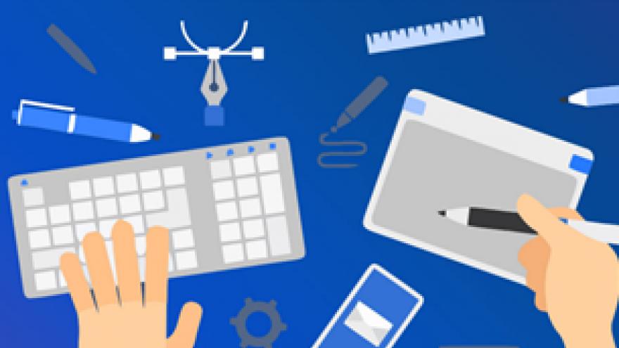Dibujo de mesa con teclado de ordenador y lápiz