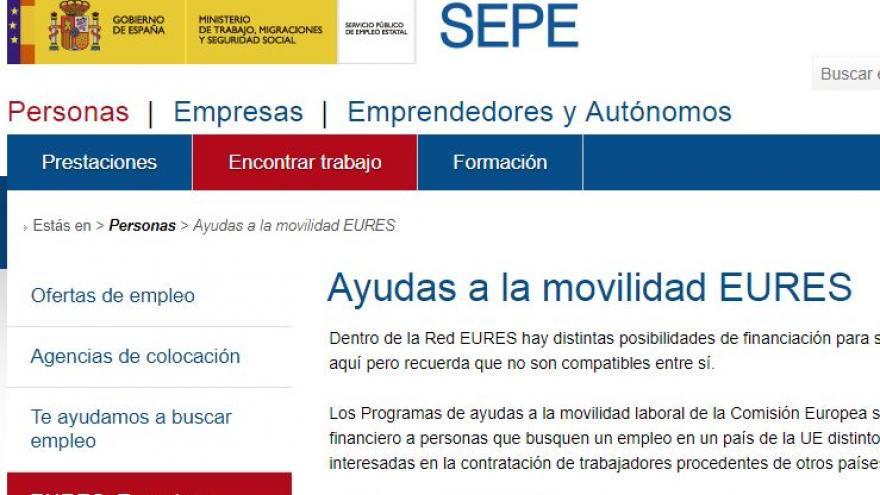 Imagen del Portal de Internet Ayudas Movilidad Eures