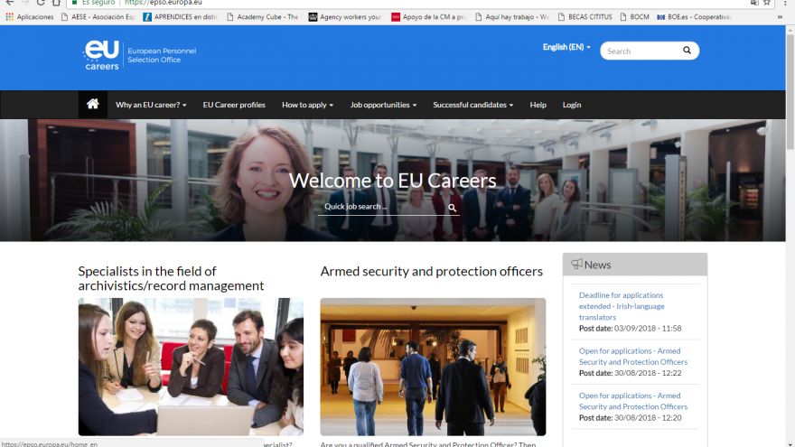 Imagen de un Portal de acceso a agencias de la UE