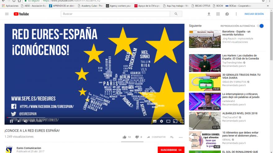 Mapa de Europa con las opciones disponibles para EURES España