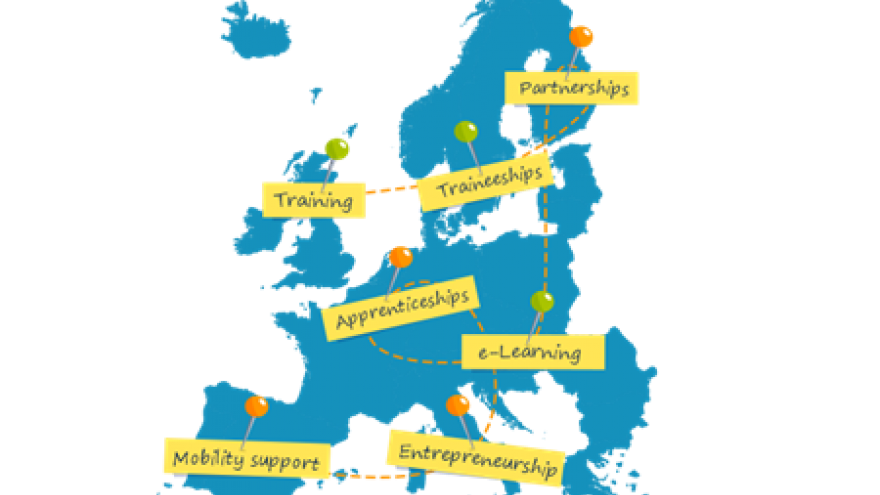 Mapa de la Unión Europea en azul