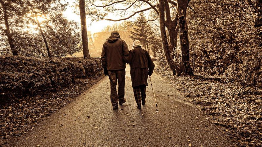 Pareja de ancianos caminando por el parque
