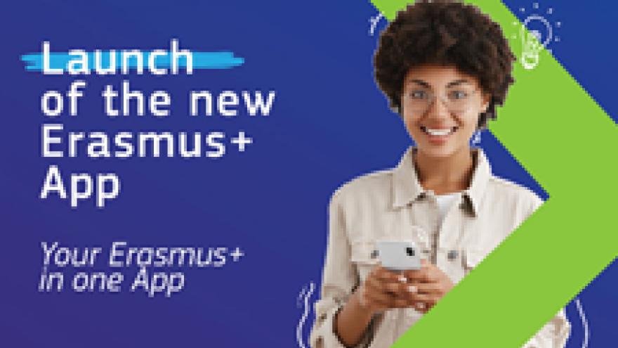 Busto de mujer y anuncio de la nueva App de Erasmus Plus