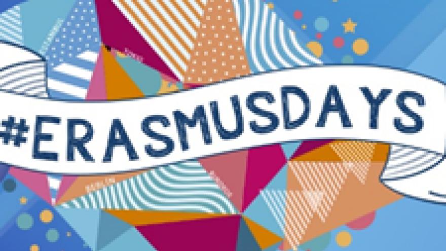 Dibujo abstracto con una vitola en que se lee Erasmus Days