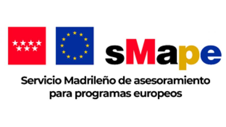 Logotipo de sMape, con los iconos de la Comunidad de Madrid y de la Unión Europea