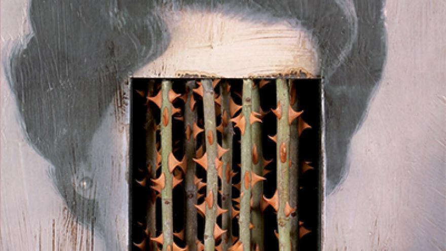 imagen de la cara de una mujer tapada con una reja de espinas
