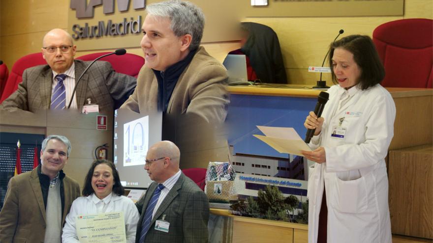 Gerente del Hospital, el poeta Antonio Daganzo y la Dra. Pilar Delgado, ganadora del certamen.