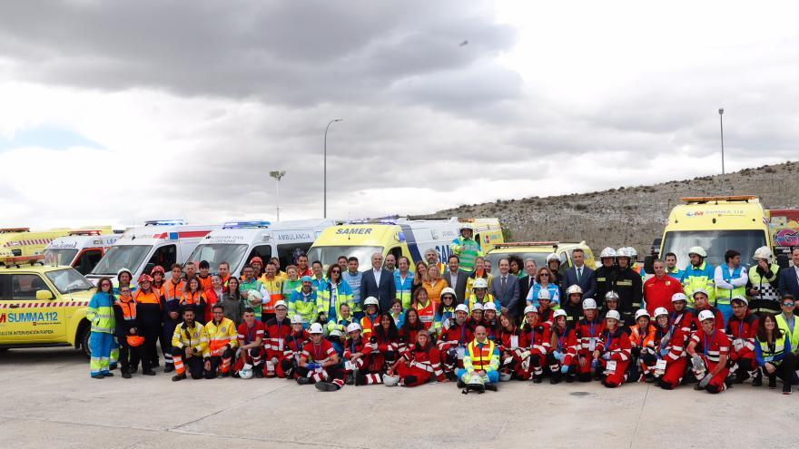 Profesionales de Emergencias, en un simulacro de catástrofe