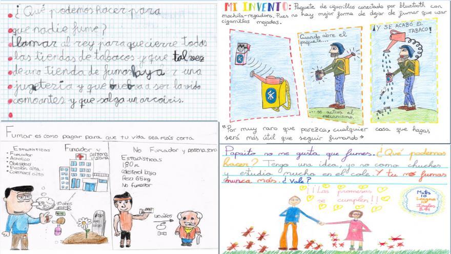 Una redacción y tres dibujos, ejemplos de trabajos ganadores