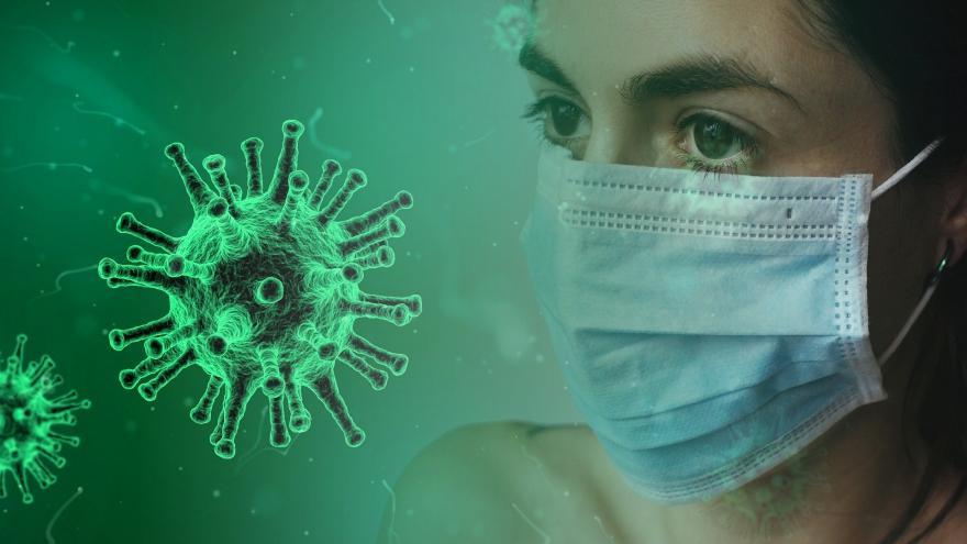 Coronavirus y mujer con mascarilla