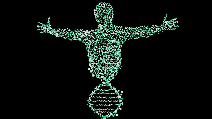 Imagen icónica de una figura de ser humano formada por una cadena de ADN