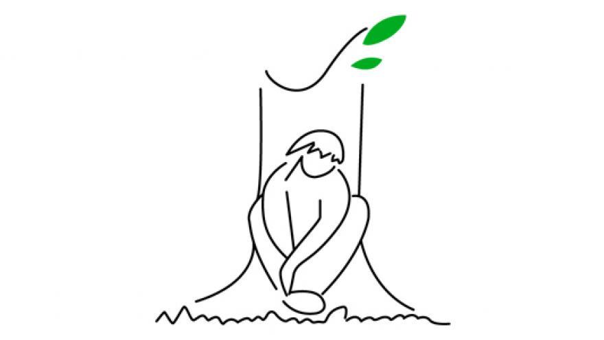 dibujo de un niño sentado bajo un árbol