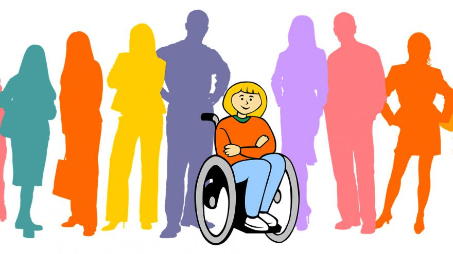 imagen decorativa, dibujo alegórico de la inclusión de personas en silla de ruedas con el resto de la sociedad