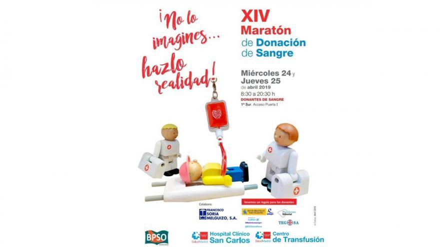 Cartel con muñecos simulando la donación de sangre