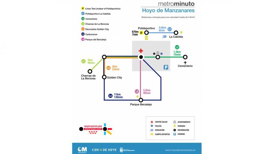 Mapa de paseos saludables promocionados por el Consultorio Local de Hoyo de Manzanares