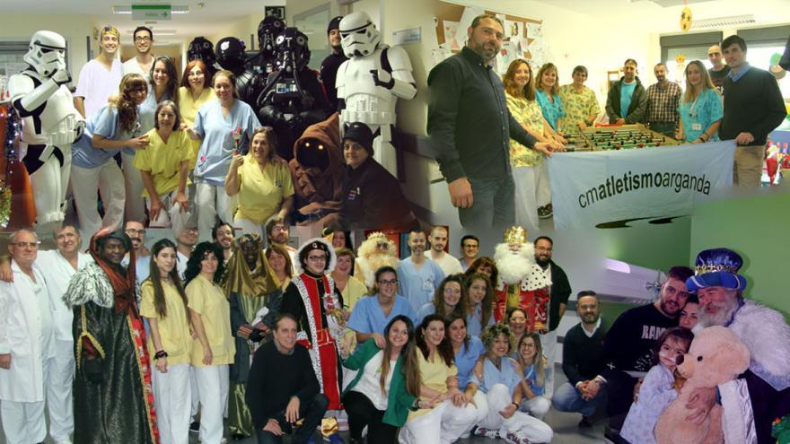 Montaje con las visitas de la Legión 501, Club de Atletismo Arganda y los Reyes Magos con el personal del Hospital
