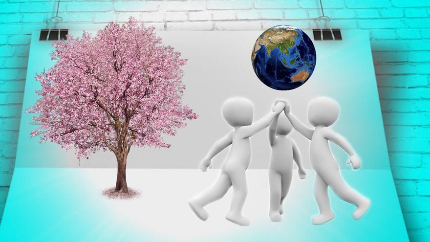 Alegoría de solidaridad, tres figuras juntan sus manos bajo un globo terraqueo
