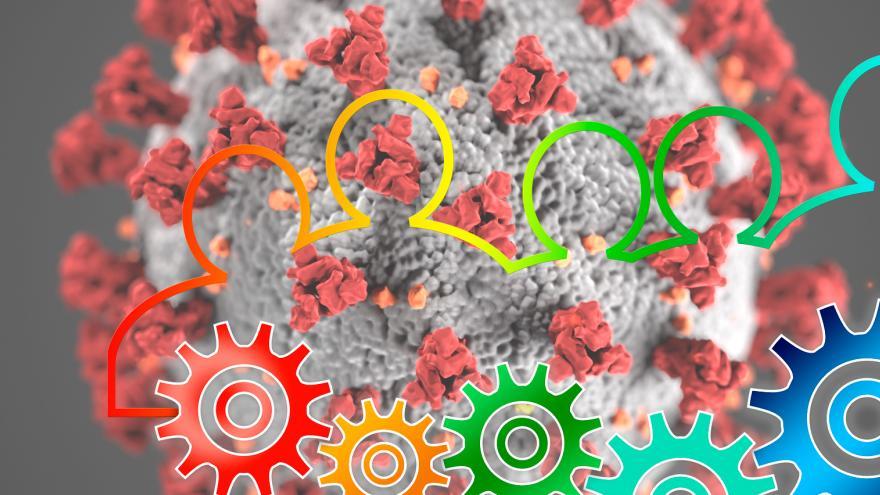 Imagen de coronavirus con siluetas de personas superpuestas