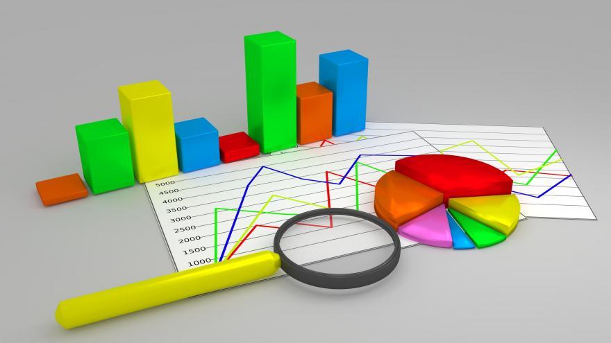Imagen con ilustraciones de gráficos y tablas estadísticas