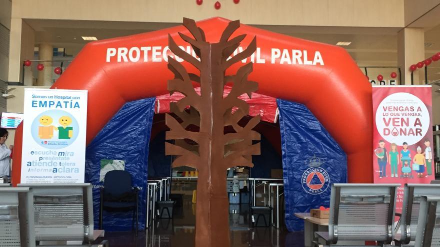 Hospital de campaña para el maratón de donación de sangre del Hospital Infanta Cristina