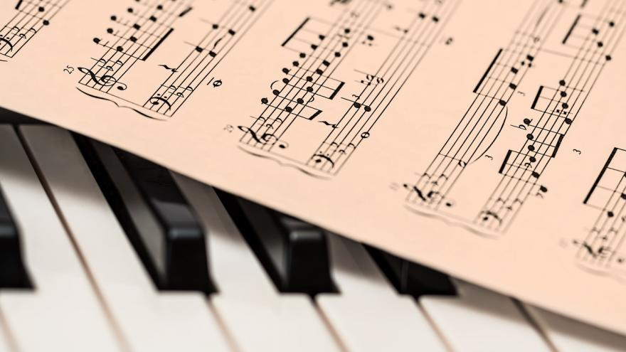 Partitura sobre teclado piano