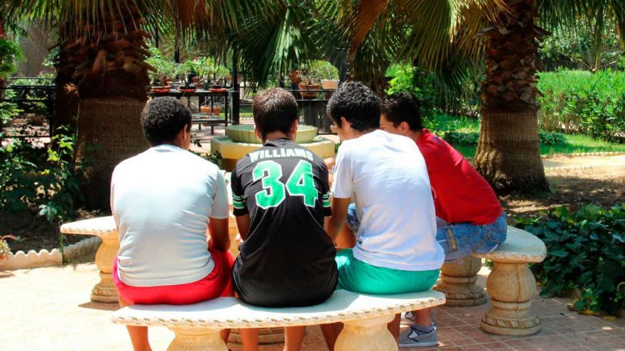 Chicos sentados de espalda en un banco