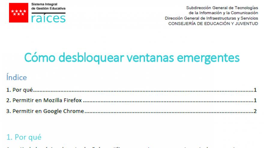 Imagen del documento de ayuda para desbloque de ventanas emergentes