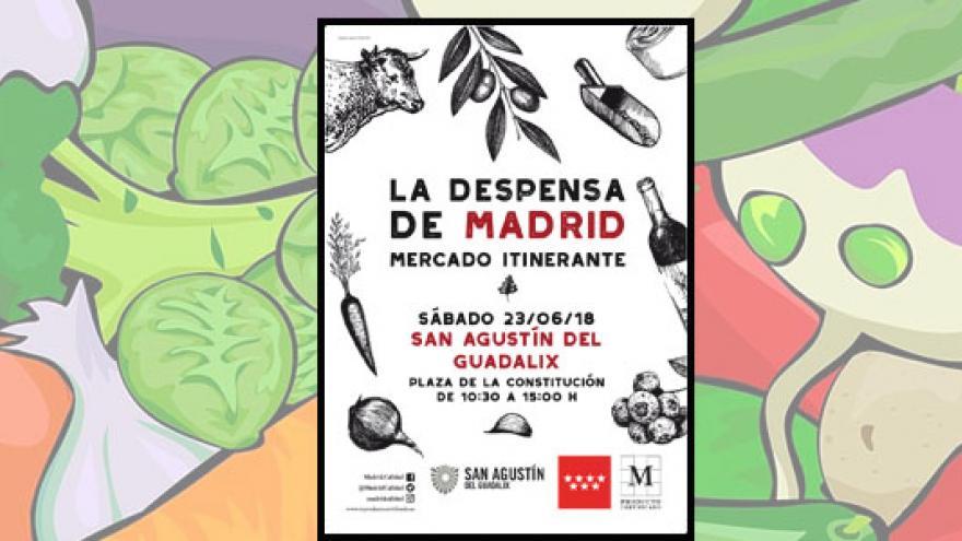 Dibujo hortalizas y cartel informativo mercado itinerante Guadalix