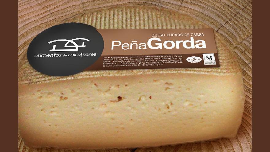 Fotografía de un queso Peña Gorda curado de cabra