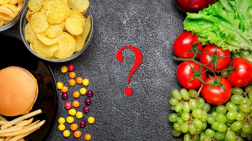 Interrogante con alimentos