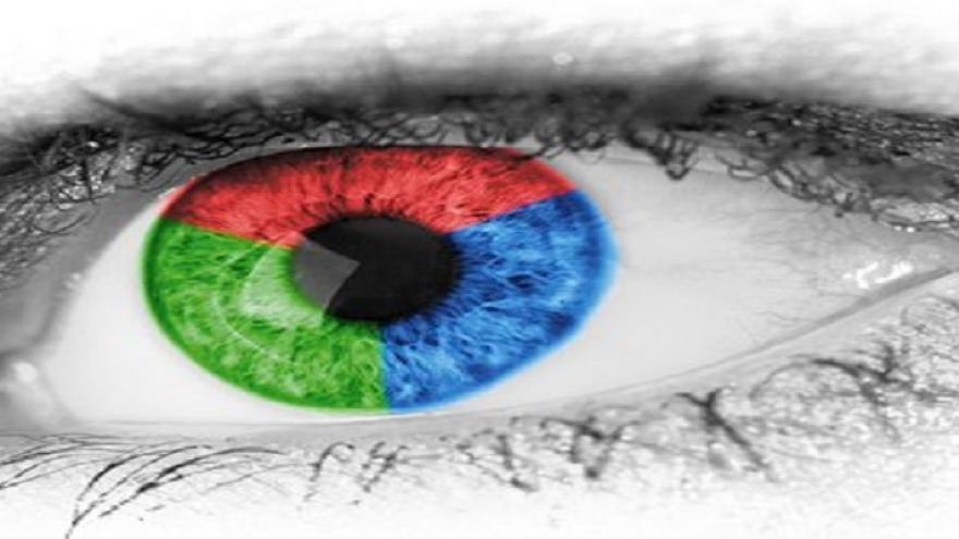 ojo con pupila de tres colores