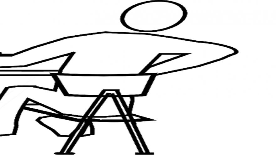 Dibujo de persona sentada tocándose la espalda