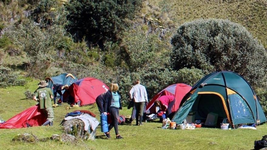 Grupo de jóvenes en una acampada