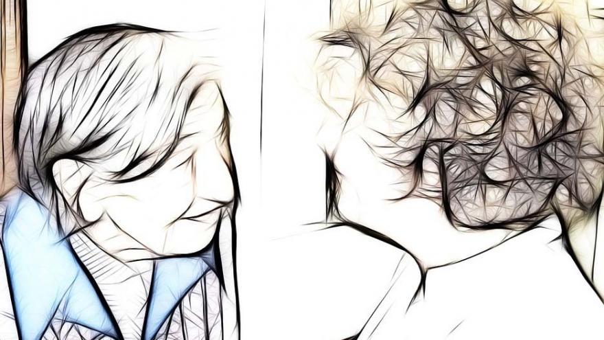 Dos personas que se miran: Escuela de cuidadores 12 de octubre y Escuela Madrileña