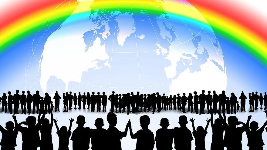 Globo terráqueo con arcoiris y personas