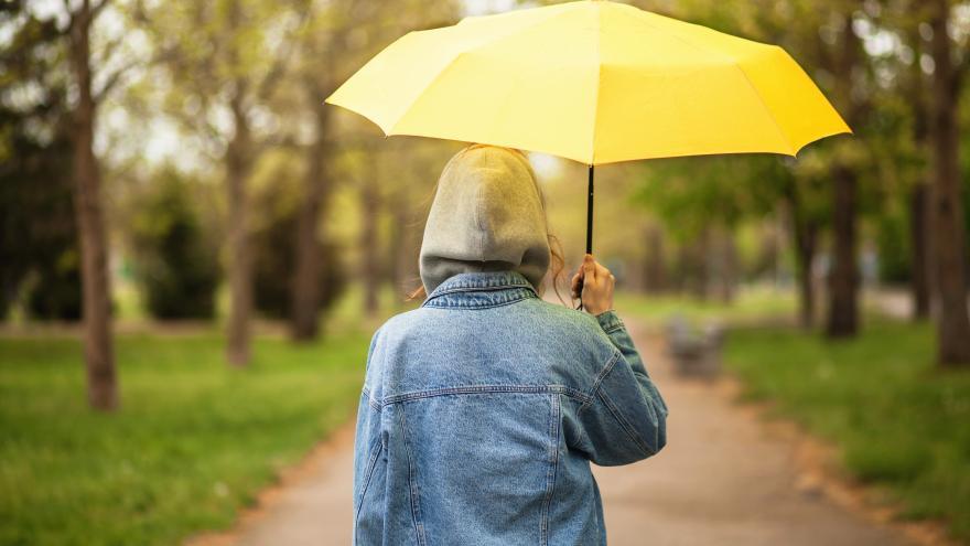 Mujer de espaldas con paraguas