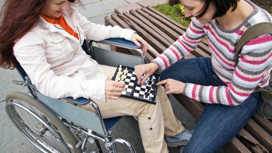 Dos mujeres, una en silla de ruedas vistas desde arriba